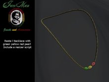 Cord Necklace with 3 pearl rasta style color