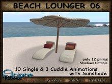 - SALE - Beach Sun Deck white rattan - Lounger & Sunshade - Low Prim for Terrace, Patio, Garden or Beach