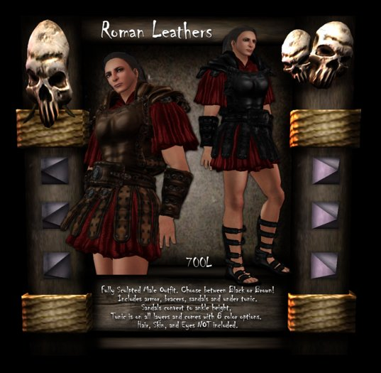 [LH] Roman Leathers - Black - Men's Leather Armor with Sandals and 8 Tunic Color Options