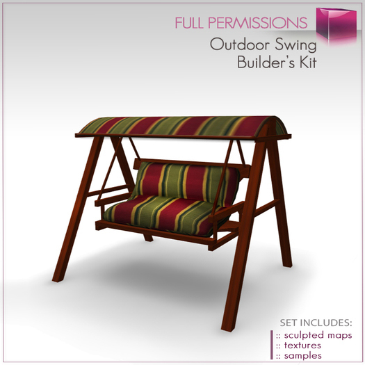 Full Perm Scultped Outdoor Swing-Canopy Swing-Futon-Porch Swing-Garden Swing Sofa Builder's Kit Set