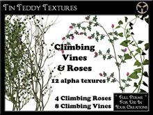 *Tin Teddy* Climbing Vines & Roses Textures - 12 High quality alpha textures