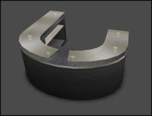 [ kunst ] - Front desk (1) / glass top - black wood - gold