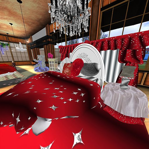 Second Life Marketplace Red Silver Glitter Star Heart Shaped Bed My Valentine