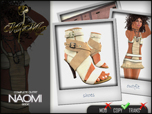 Complete Outfit Naomi Beige- Leather high heel strapped sandals with prim foot included in matching color- MiMo Couture