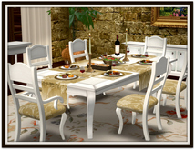 Dinner Party Dining Set for 6: Ivory French Cabriole