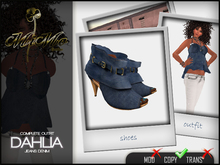 Complete Outfit Dahlia jeans denim - Open toe sandals included in matching color - MiMo Couture