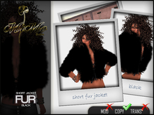 Fur jacket short Black -MiMo Couture-