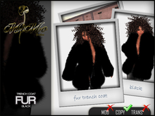 Fur Trench coat Black -MiMo Couture-