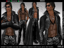 fRmen-0015 neo. Men leather outfit, sculpt coat, tattoo included, VALENTINE