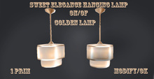 Hanging golden lamp with 0n/off
