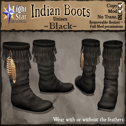 *LightStar -Black Native American Indian Boots