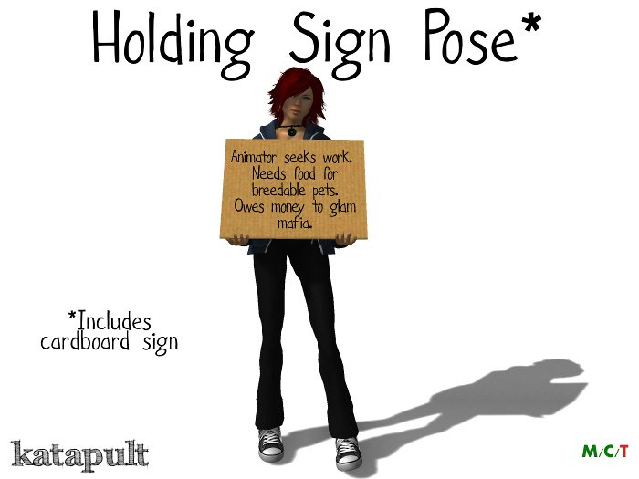 Holding cardboard sign pose