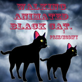 Animated waliking black cat.