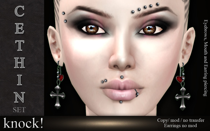 :: Knock! :: CETHIN :: Piercings and Earring set