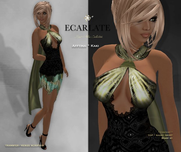 Ecarlate - Afftina (C) - Kaki * Dress Gown Formal * Robe