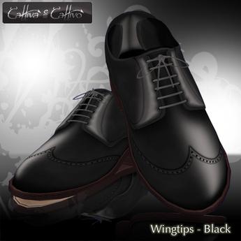 Men's Shoes,  dress shoes - sculpt shoes - Oxford Wingtips - Cattivo - Wingtips - Black