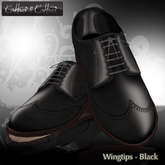 Men's Shoes,  dress shoes - sculpt shoes - Oxford Wingtips - Cattivo - Wingtips - Black