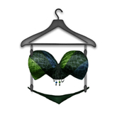 [croire] Sexy Snakeskin Swimsuit Bikini (Earth) (Blue & Green) Bright neon cute string bikini, thong and bra