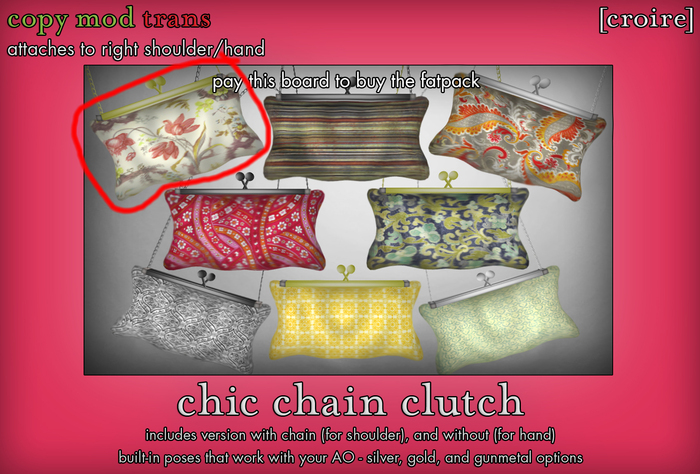 [croire] Chic Chain Clutch (#1) (3 metal options, built in poses, chain/no chain options) Girly hipster boho patterns!