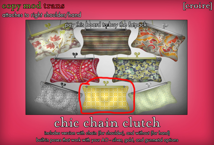 [croire] Chic Chain Clutch (#7) (3 metal options, built in poses, chain/no chain options) Girly hipster boho patterns!