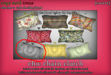[croire] Chic Chain Clutch (#6) (3 metal options, built in poses, chain/no chain options) Girly hipster boho patterns!
