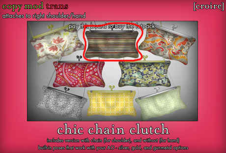 [croire] Chic Chain Clutch (#2) (3 metal options, built in poses, chain/no chain options) Girly hipster boho patterns!