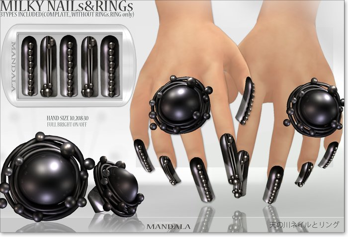 (70%OFF SALE)[MANDALA]MILKY WAY RING & NAILS/gaga black
