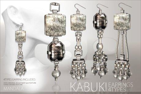 (70%OFF SALE)[MANDALA]KABUKI Earrings /Silver