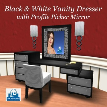 Second Life Marketplace On Sale Black White Vanity Dresser W