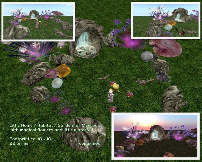 Habitat / Home / Garden for Meeroos or other pets with waterfal