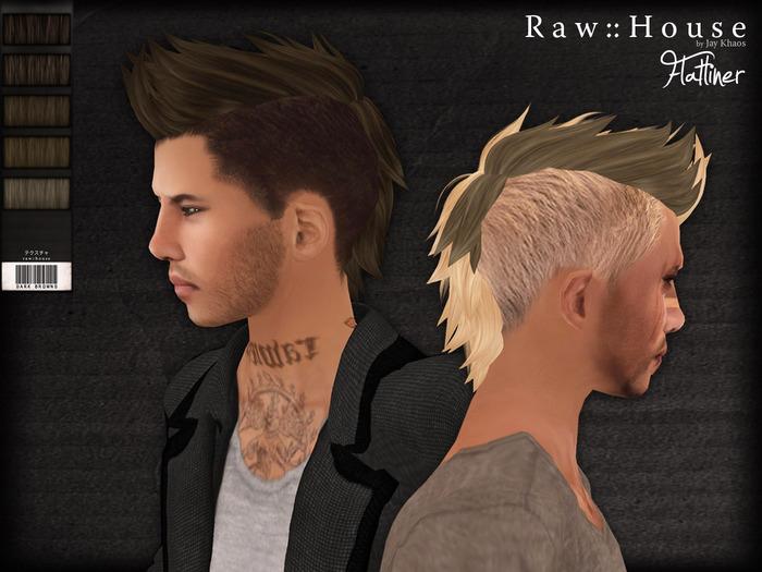 RAW HOUSE :: Flatliner Hair [Dark Browns] w/ texture change highlights