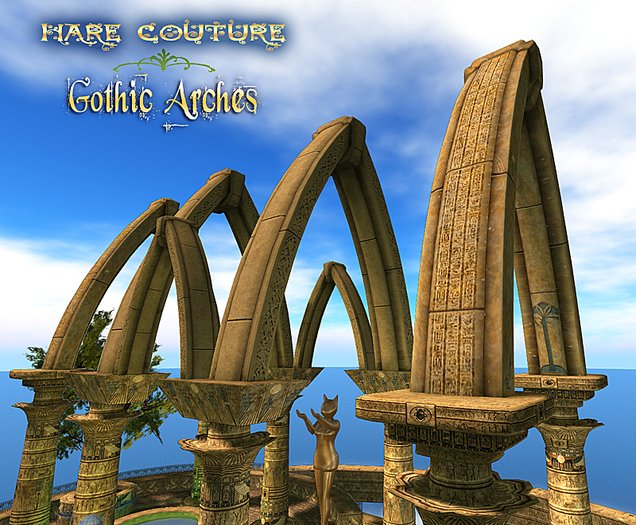 ~ Hare Couture ~ One-Prim Sculpted Gothic Arches