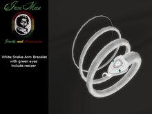 White snake arm bracelet with green eyes with resizer By Jamman