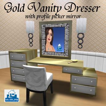 Second Life Marketplace On Sale Gold Vanity Dresser W Profile