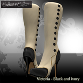 """Cattiva Shoes and boots """"VICTORIA"""" IVORY&BLACK BOOT @ HQ"""