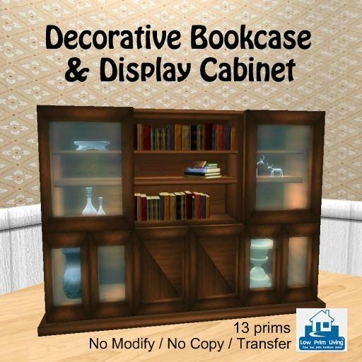 Second Life Marketplace On Sale Decorative Bookcase Display Cabinet Decor Home Bookshelf Book Case