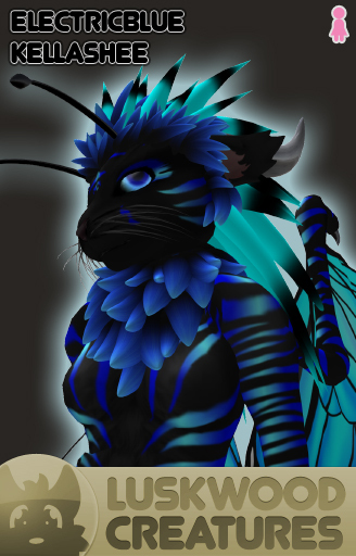 Luskwood Electric Blue Kellashee - Female - Complete Furry Avatar