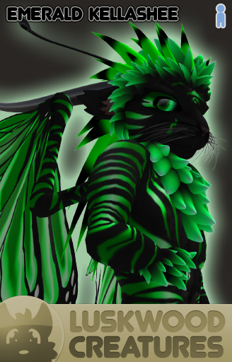 Luskwood Emerald / Green Kellashee Avatar - Male - Complete Furry Avatar