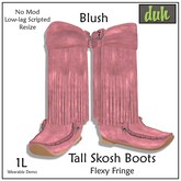 ::Duh!:: Tall Fringed Skosh Boots - Blush (Pink)