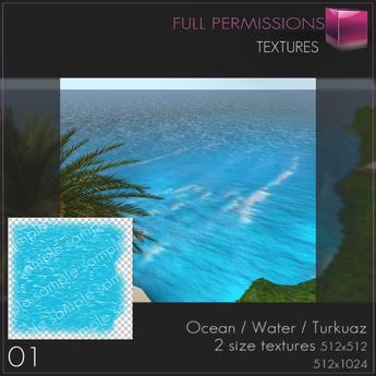 %50SUMMERSALE Full Perm Ocean Water Turkuaz 01 Texture Builder's Kit Set