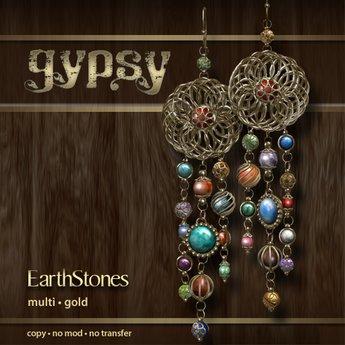 EarthStones Gypsy Earrings - Multi/Gold (GIFT BOX)