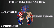 4th of july girl and boy with animated fire works