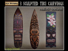 PROMO 60% OFF !3 sculpted tiki carvings