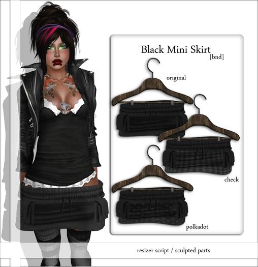 Black Pocket Mini Skirt check BND