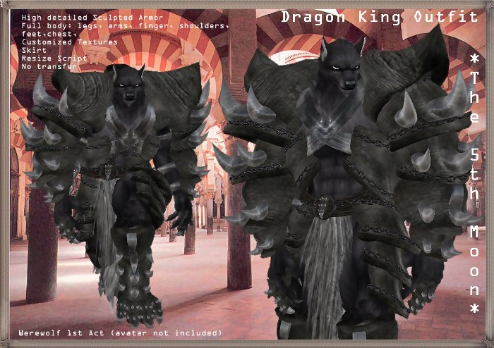 Second Life Marketplace Dragon King Armor Outfit Kur This set has only one piece, and can be complemented with charms, weapons and. second life marketplace