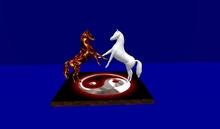HORSES REARING YING YANG