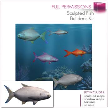 %50SUMMERSALE Full Perm Sculpted Fish  Builder's Kit Set