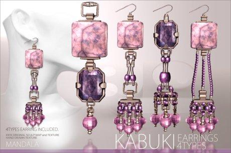 (70%OFF SALE)[MANDALA]KABUKI EARRINGs/4types included/Shangri-La PINK