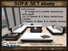 Sofa Set Corner Ebony Wood Living Room - Couch,Lounger & Decoration -