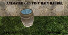 old time rain  barrel